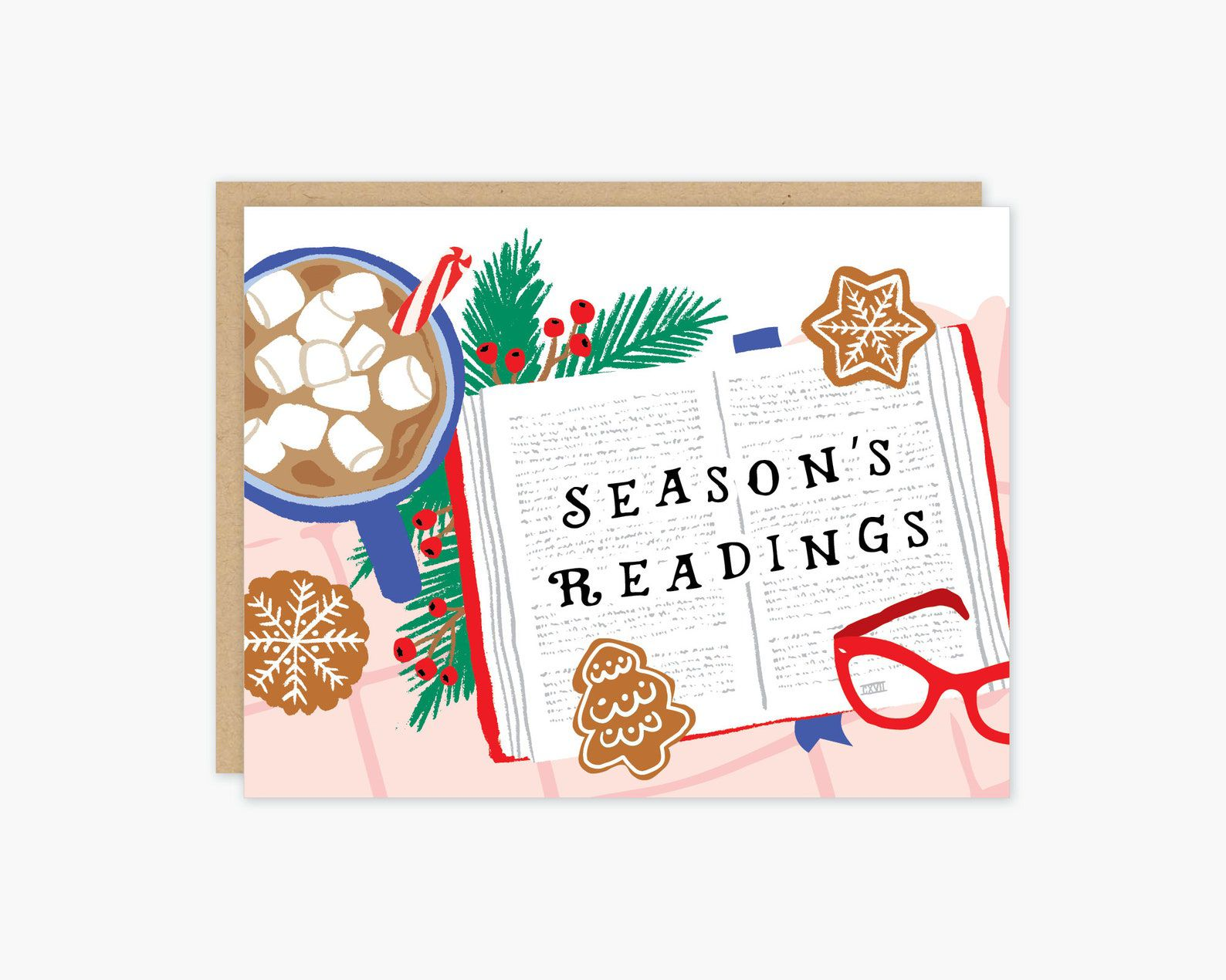 """A card with a painting of an open book that reads """"Season's Readings"""" surrounded by a cup of hot cocoa, gingerbread cookies, and a sprig of greens and holly."""