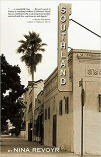cover of southland by Nina Revoyr, a black and white photo of a building with a sign reading 'southland' with palm trees in the background