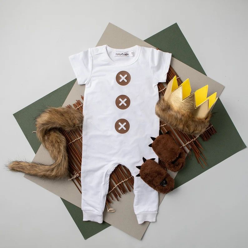 Max costume kit from Where the Wild Things Are: white romper, gold crown, fluffy tail and slippers