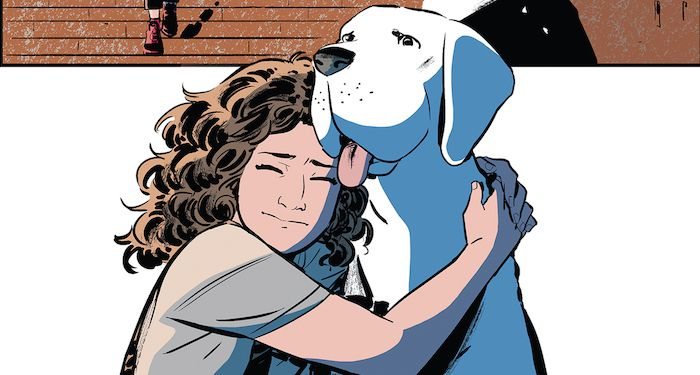 a panel showing Whistle hugging her dog