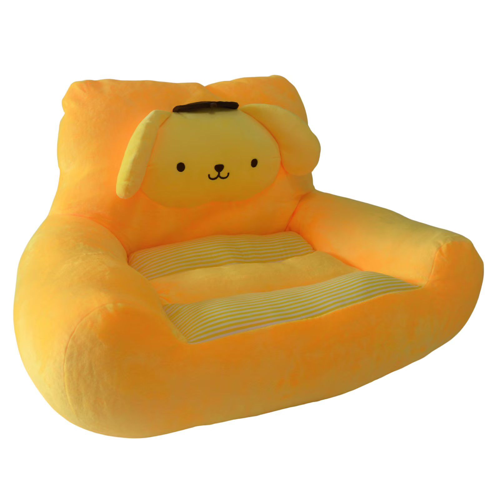yellow chair with stuffed dog headrest