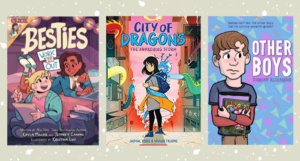 collage of three middle grade graphic novel covers