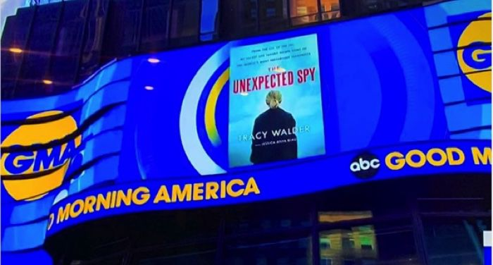 image of a Good Morning America promotional banner running for The Unexpected Spy by Tracy Schandler Walder