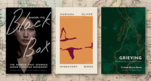 3 covers of the books listed against a map background