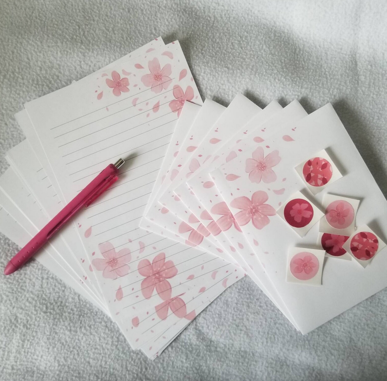 Cherry blossom stationary set with pink pen