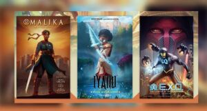 Book covers ofMalika: Warrior Queen Volume 1; Iyanu: Child of Wonder Volume 1; and E.X.O.: The Legend of Wale Williams Volume 1