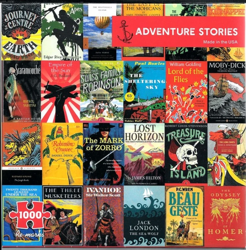 puzzle featuring covers from classic adventure stories