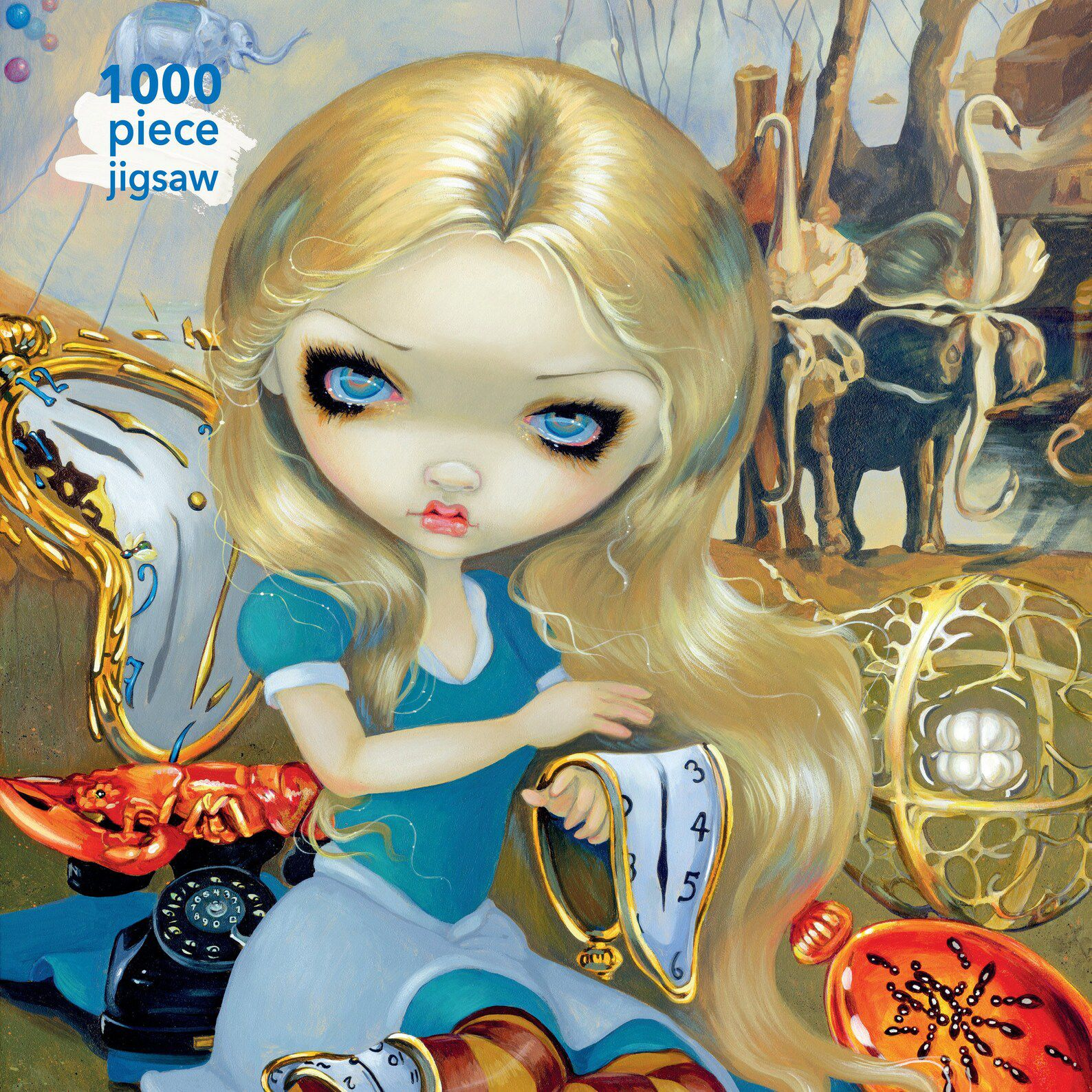 puzzle features a version of Alice holding a melting clock in the style of Salvador Dali