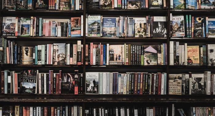 assorted books on a shelf