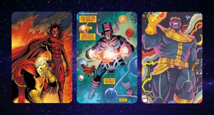 collage of three comics panels featuring three Avengers villains: Mephisto, Galactus, and Thanos
