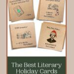 pinterest image for literary holiday cards