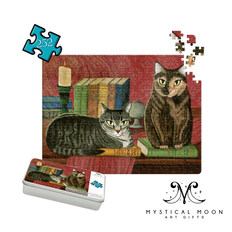 puzzle features two cats sitting on books