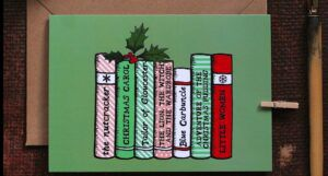 bookish Christmas card