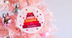 bookish christmas ornament