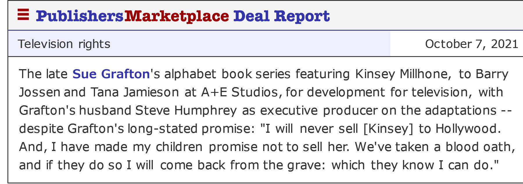 Publisher's Marketplace announcement for the Sue Grafton adaptations.