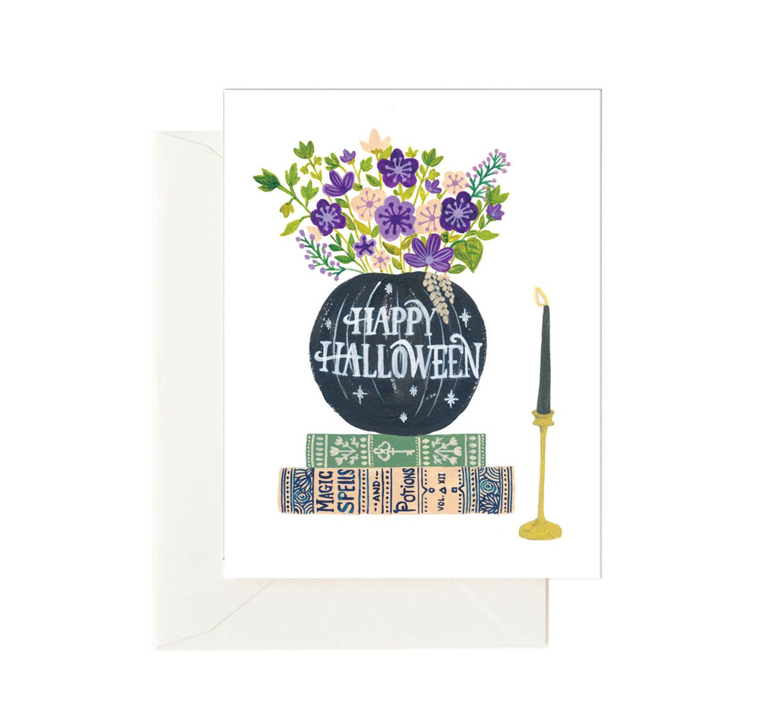 A card featuring a black pumpkin vase with green and purple flowers on a stack of books, with a black candle.