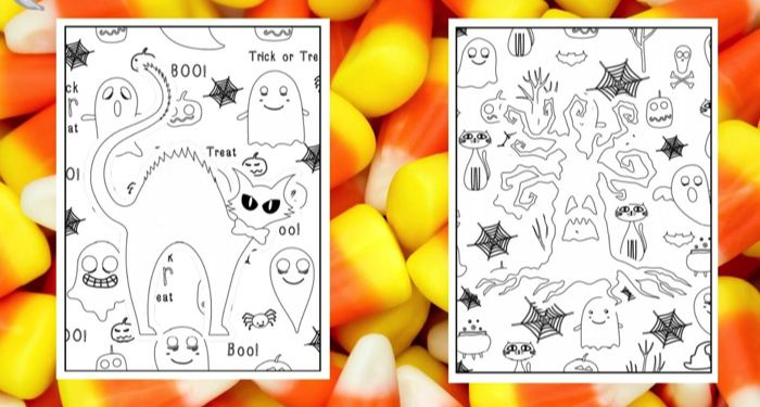 two blank Halloween coloring pages against a candy corn backdrop