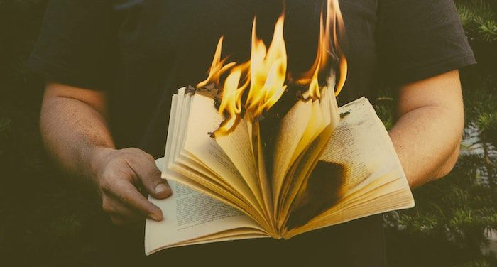 Image of a book on fire.