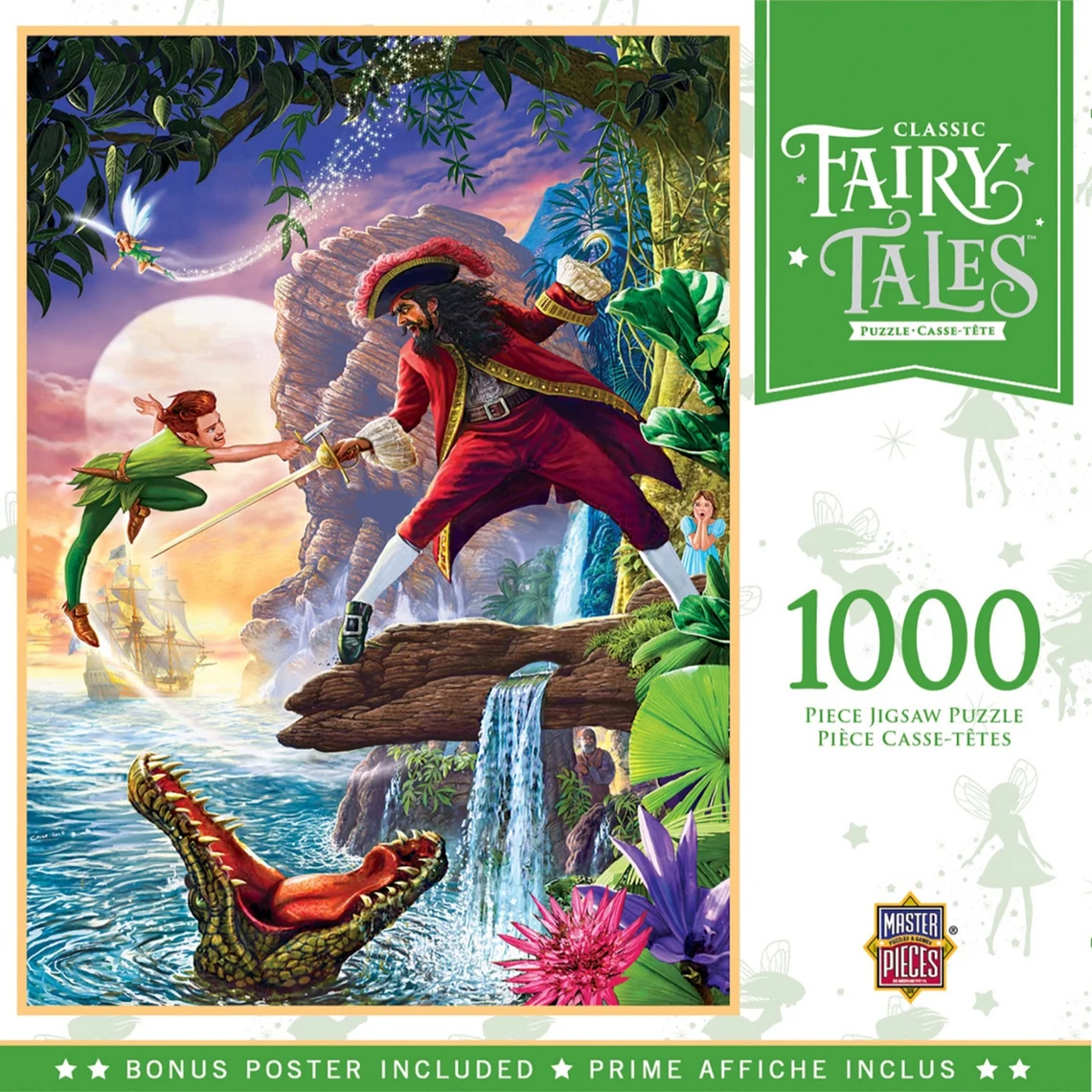 puzzle based on kid's book Peter Pan features Peter sword fighting Hook with the crocodile waiting below