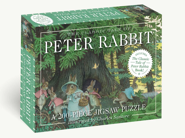 puzzle based on kid's book Peter Rabbit: photo on box is of a rabbit family but Peter is wandering away