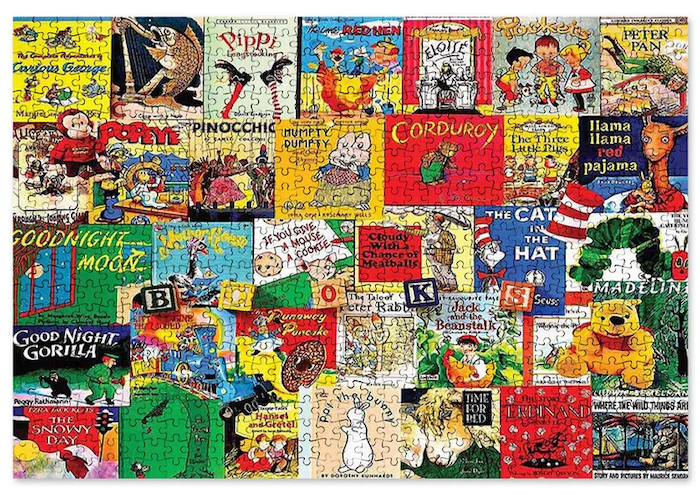 puzzle featuring covers from many different kids' books
