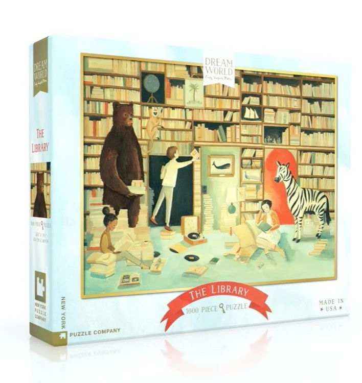 puzzle featuring a library with kids reading and several animals present