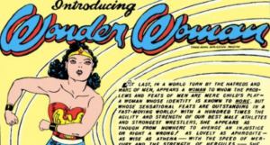 a page showing Wonder Woman running and the text Introducing Wonder Woman