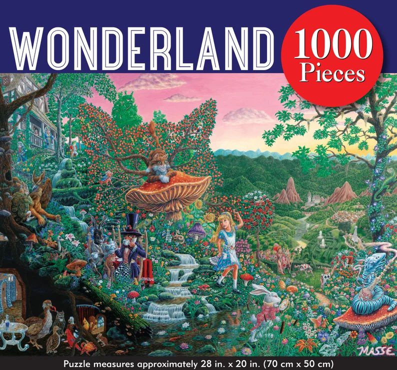 Image is an alice in wonderland themed puzzle featuring many characters in a whimsical forest